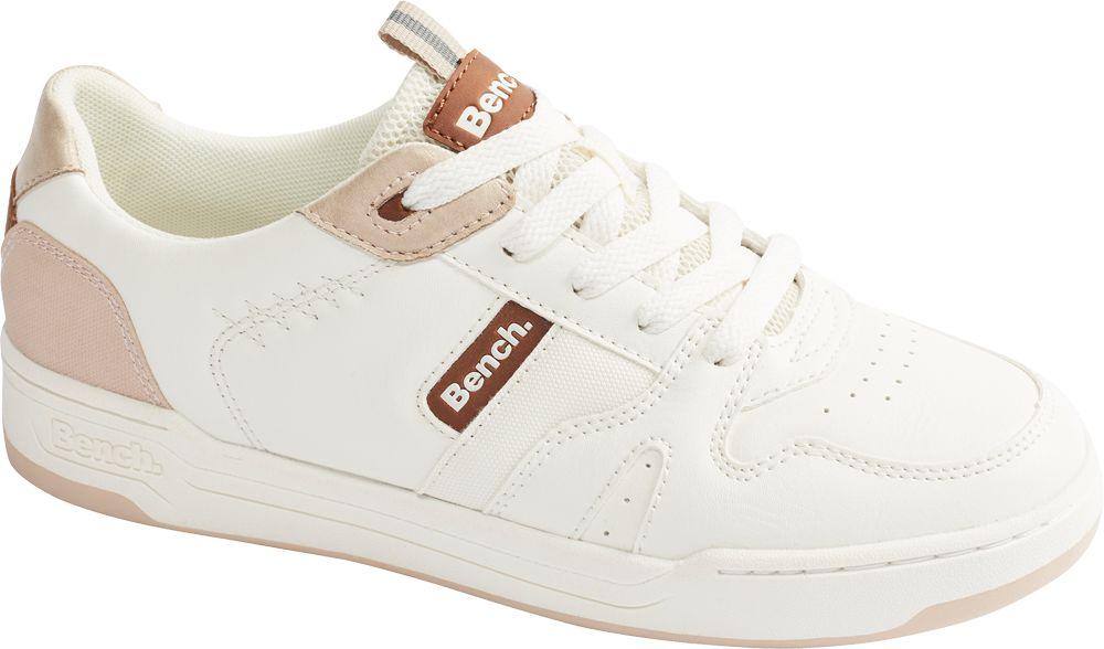 białe sneakersy damskie Bench z jasnoróżowymi elementami