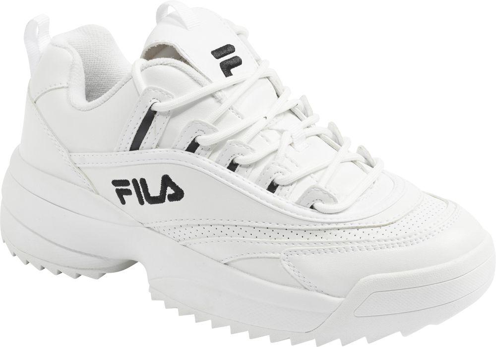 białe sneakersy damskie Fila na masywnej podeszwie i czarnymi elementami