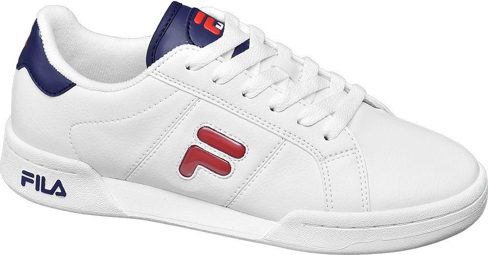 białe sneakersy damskie Fila z czerwonym bocznym logo