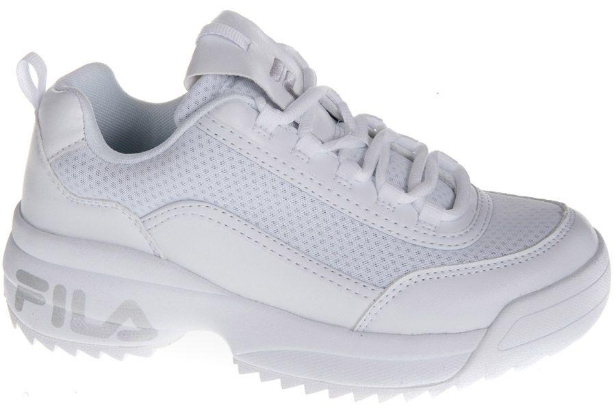 białe sneakersy damskie Fila ze srebrnym logo