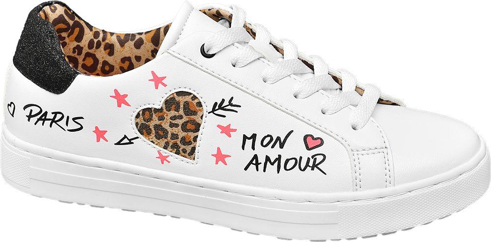 białe sneakersy damskie Graceland ozdobione napisami