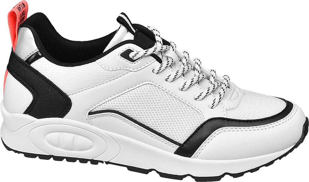 białe sneakersy damskie Graceland z czarnymi i szarymi elementami
