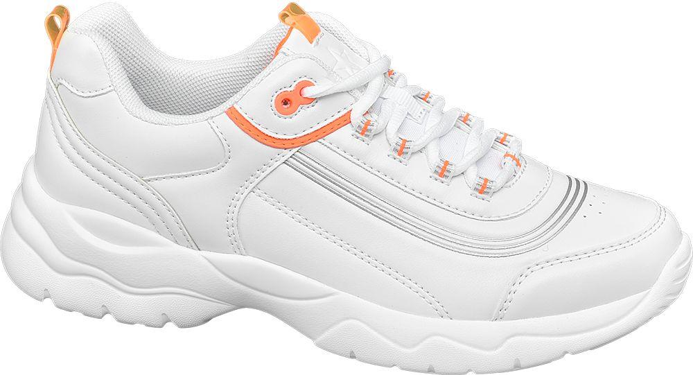 białe sneakersy damskie Graceland z pomarańczowymi elementami