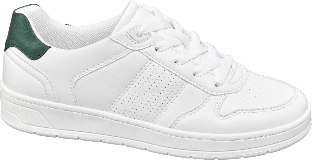 białe sneakersy damskie Graceland z zieloną wstawką