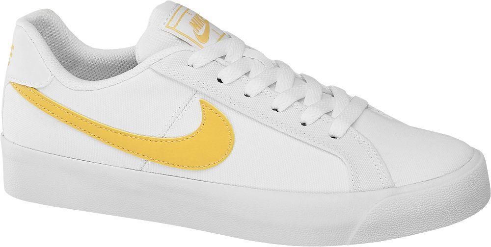 białe sneakersy damskie Nike Court Royale z żółtym logo