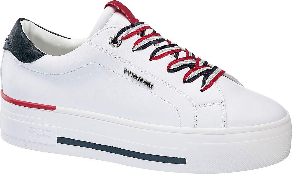 białe sneakersy damskie Tom Tailor z czerwonymi i granatowymi akcentami