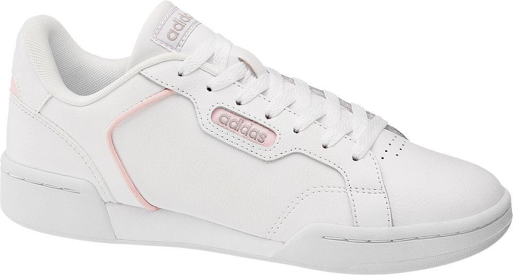 białe sneakersy damskie adidas Roguera z różowymi akcentami