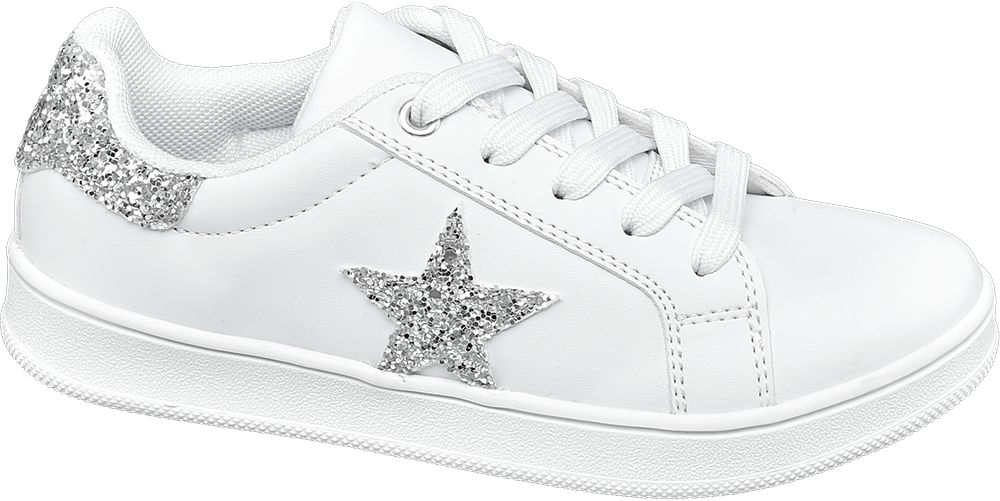 białe sneakersy dziewczęce Graceland ze srebrną gwiazdą