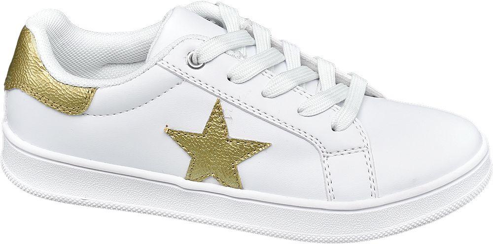 białe sneakersy dziewczęce Graceland ze złotą gwiazdą