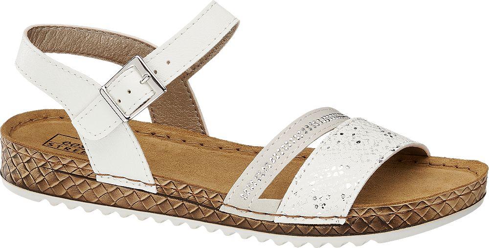 białe wygodne sandały damskie Easy Stret ze skórzaną wkładką