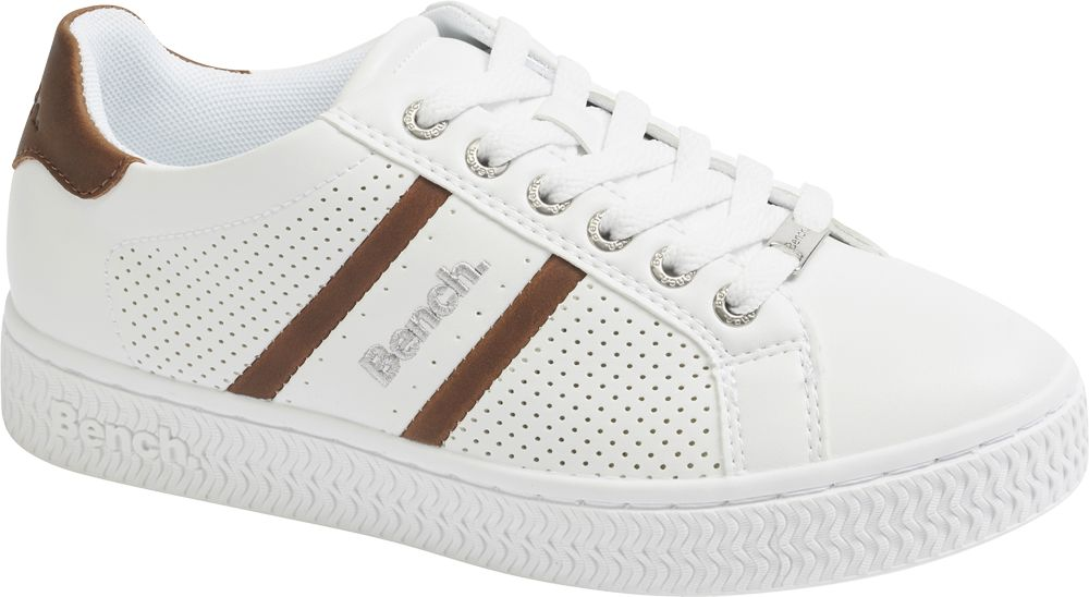 biało-brązowe sneakersy damskie Bench