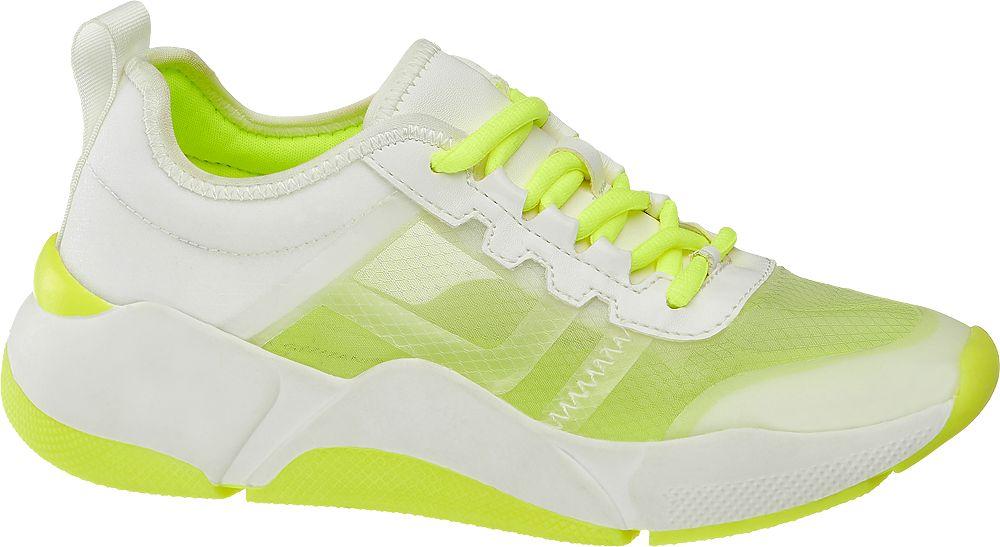 biało-limonkowe sneakersy damskie