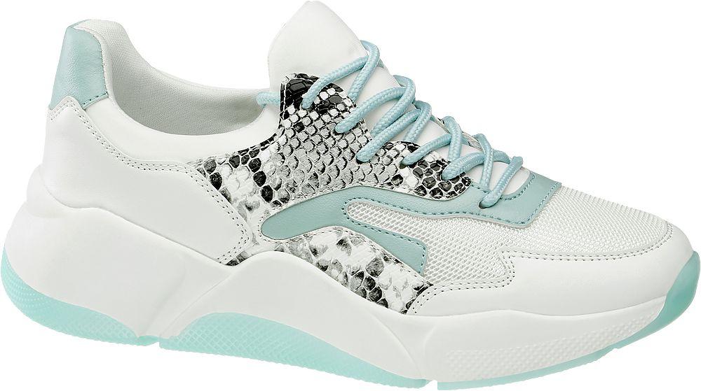 biało-miętowe sneakersy damskie Graceland na grubej podeszwie