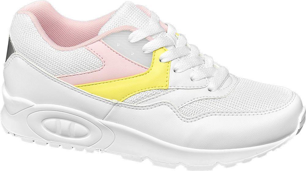 biało-różowo-żółte sneakersy damskie Graceland na grubej podeszwie