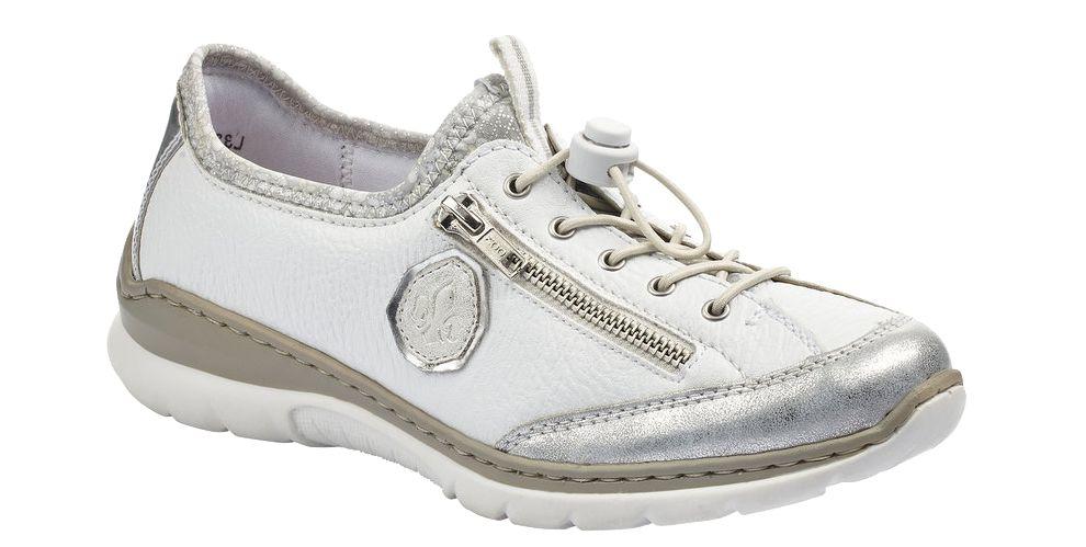 biało-srebrne półbuty damskie Rieker