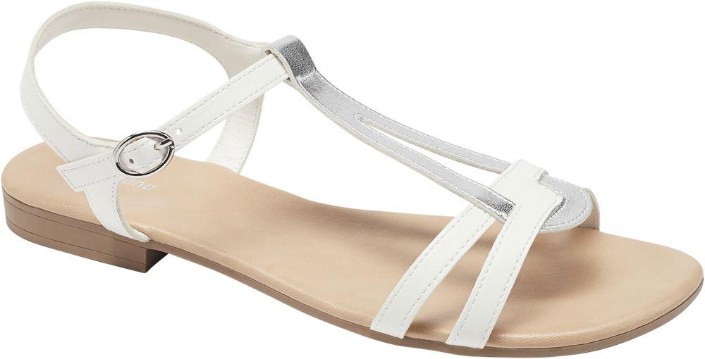 biało-srebrne sandały damskie Graceland