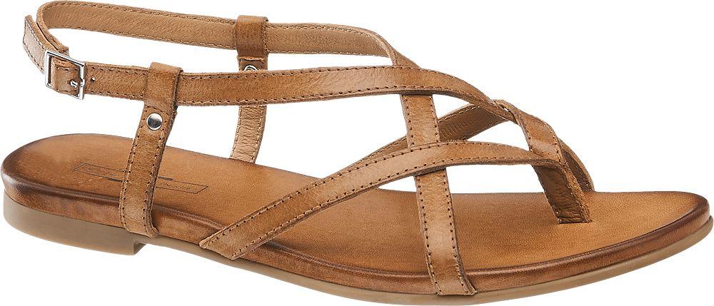 brązowe płaskie sandały damskie 5th Avenue