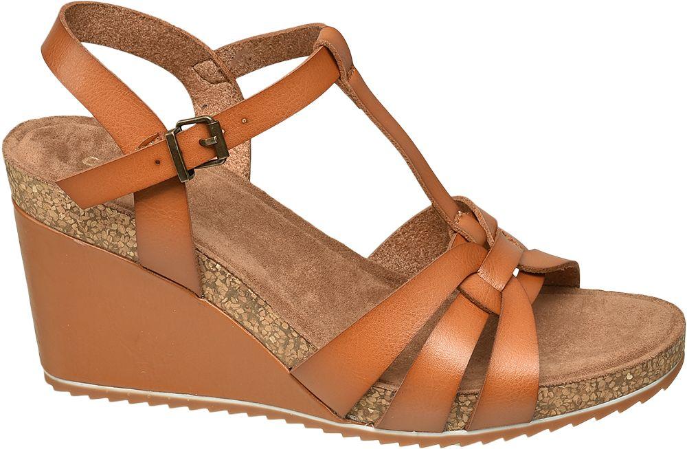 brązowe sandaly damskie Graceland typu koturny