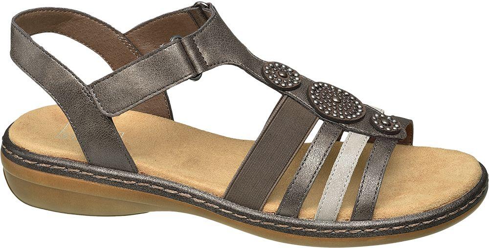 brązowe sandały damskie Easy Street na niskim obcasie