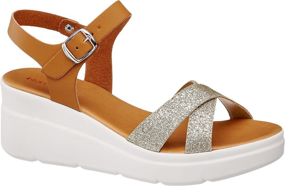 brązowe sandały damskie Graceland na białej koturnie