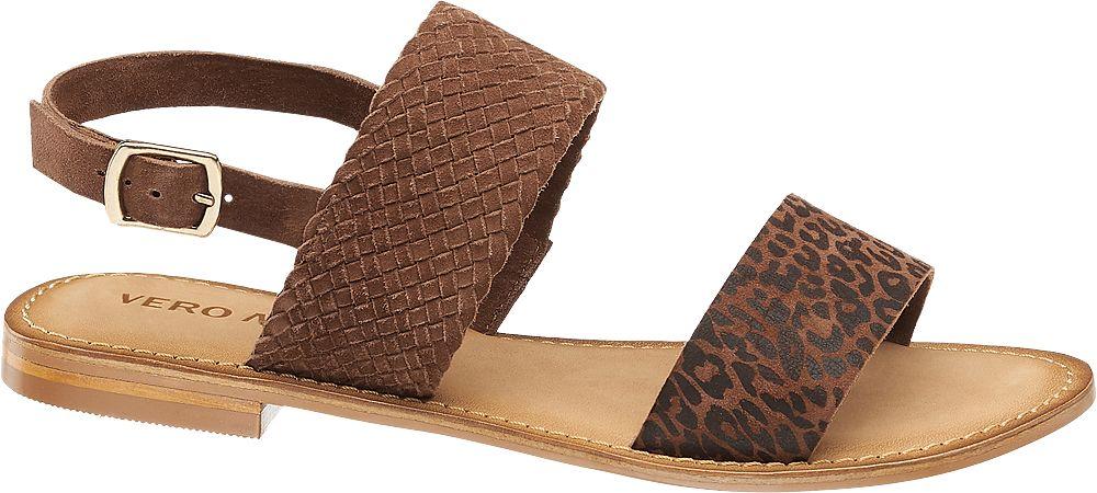 brązowe sandały damskie Vero Moda zapinane na paseczek