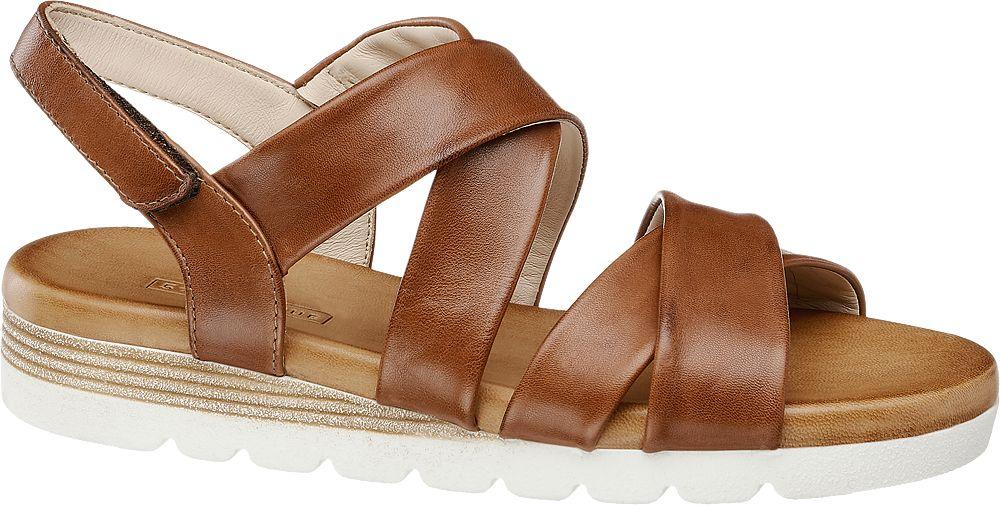 brązowe sandały damskie 5th Avenue na białej podeszwie