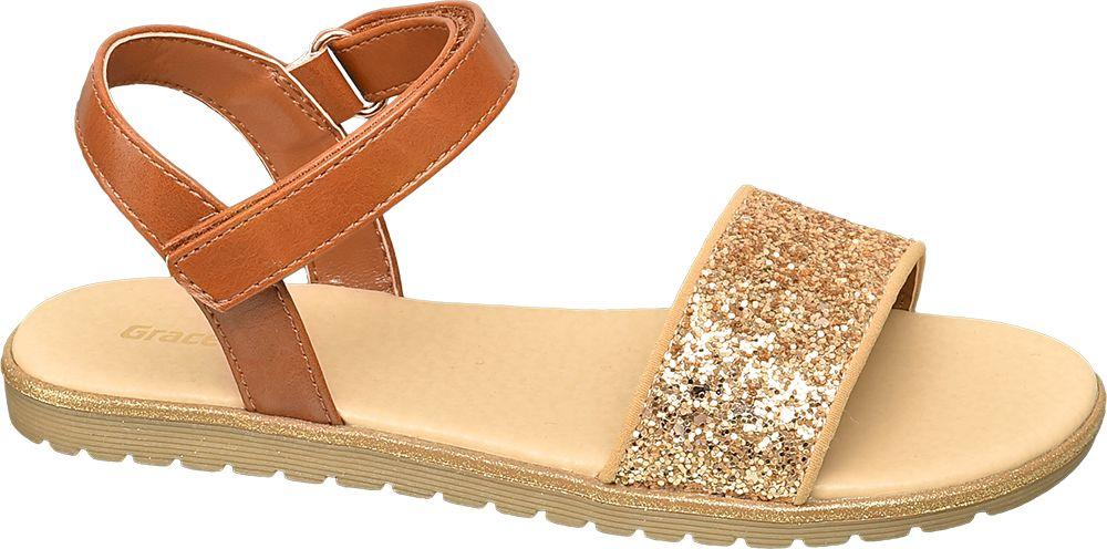 brązowe sandały dziewczęce Graceland z błyszczącym paskiem