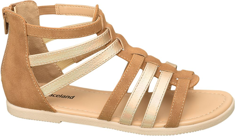 brązowo-złote sandałki dziewczece Graceland typu rzymianki