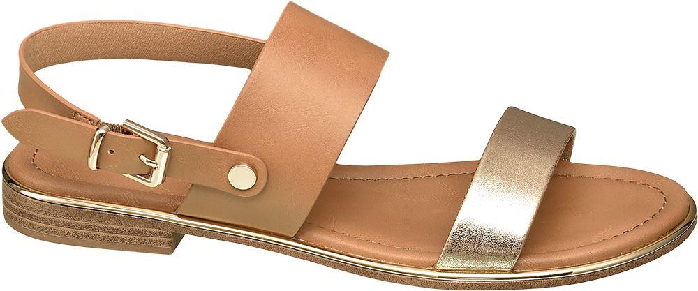 brązowo-złote sandały damskie Graceland zapinane na paseczek
