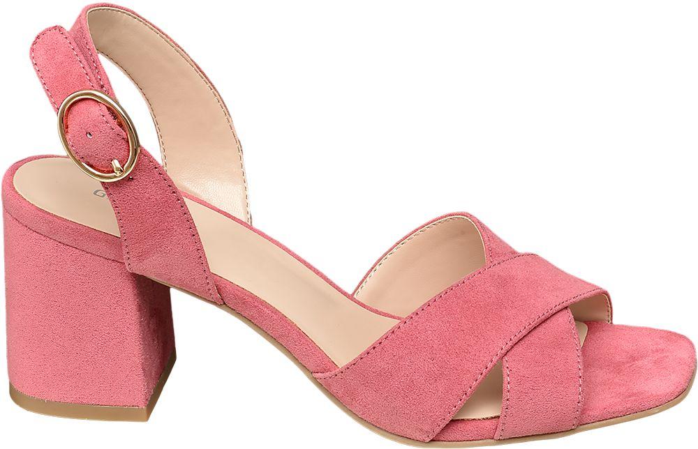 ciemnoróżowe sandały damskie Graceland na obcasie
