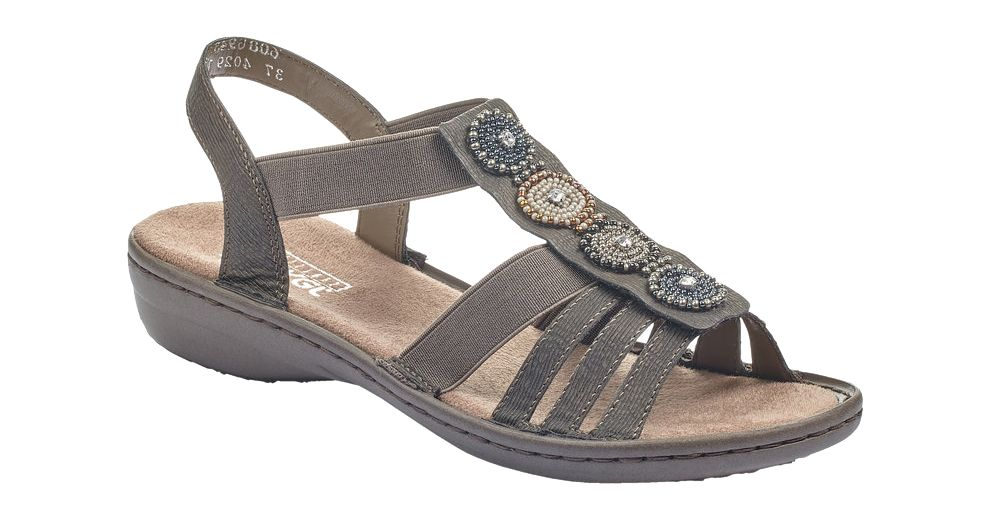 ciemnoszare sandały damskie Rieker na obcasie