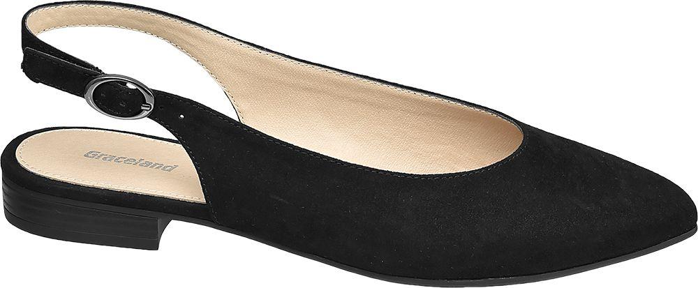 czarne baleriny damskie Graceland z odkrytą piętą