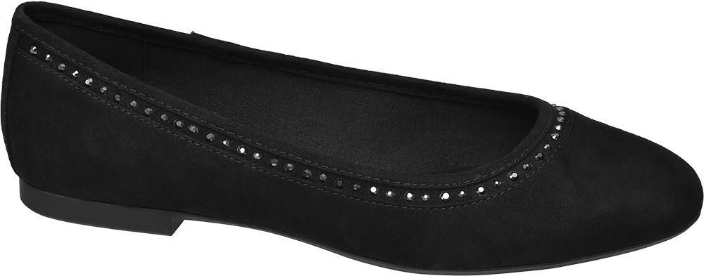 czarne baleriny damskie Graceland ozdobione blyszczącyminitami