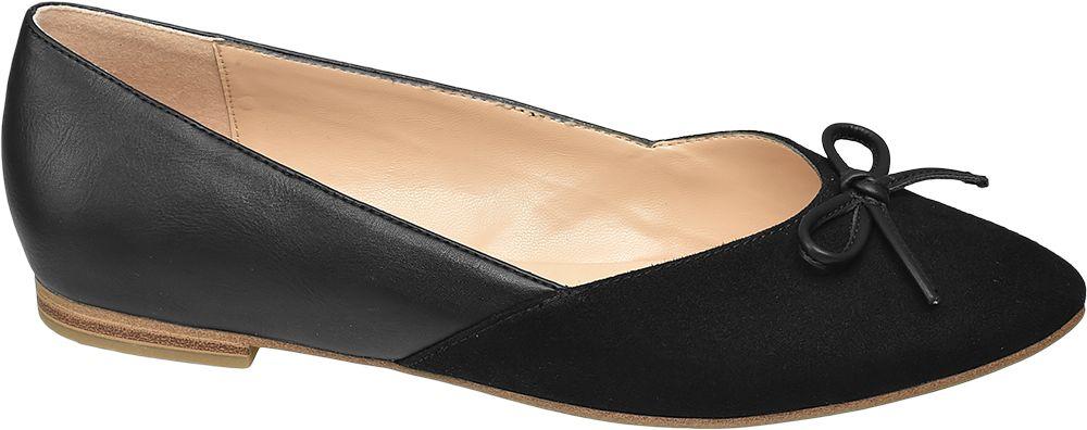 czarne baleriny damskie Graceland z ozdobną kokardką
