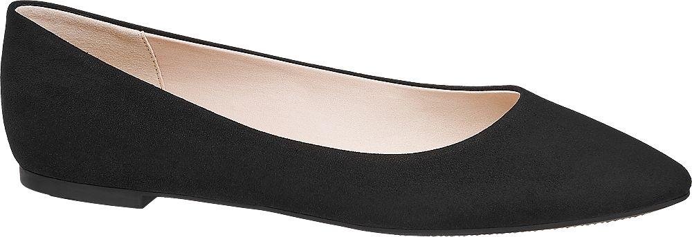 czarne baleriny damskie Graceland ze zwężającymi się noskami