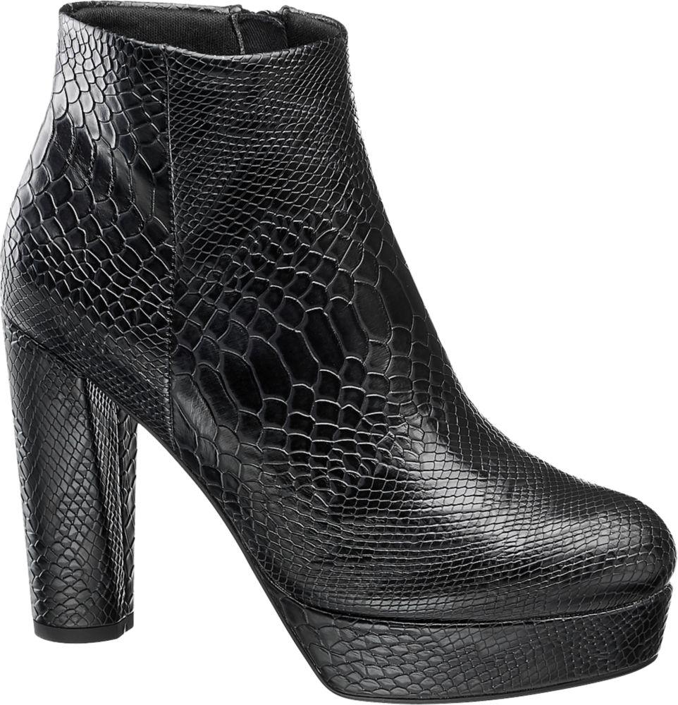 czarne botki damskie Catwalk na masywnym obcasie