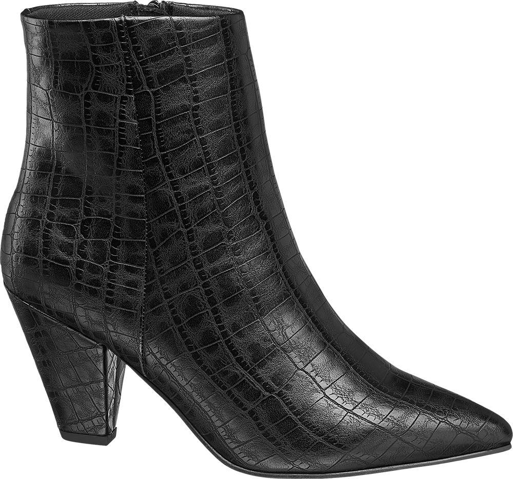 czarne botki damskie Catwalk w zwierzęcy wzór
