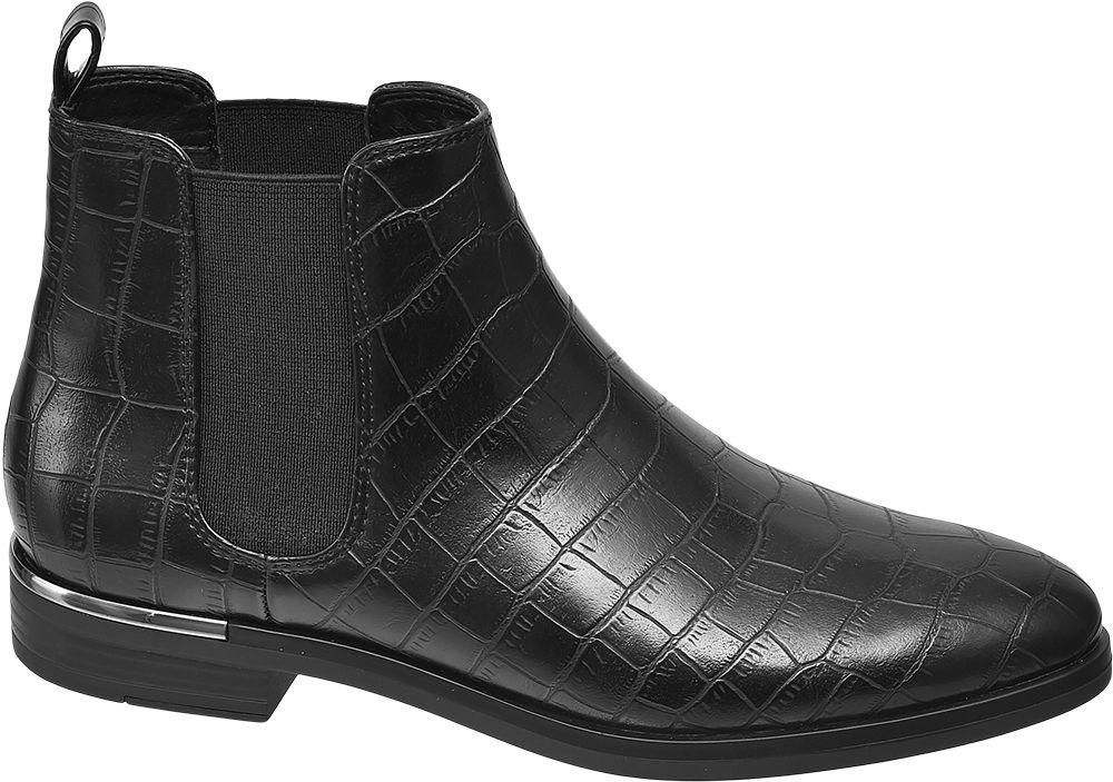czarne botki damskie Graceland typu sztyblety we wzór skóry krokodyla