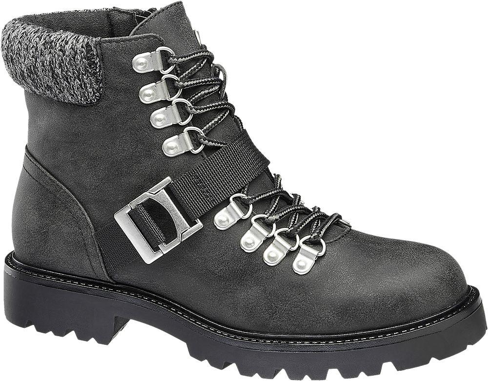 czarne botki damskie Highland Creek typu worker boots