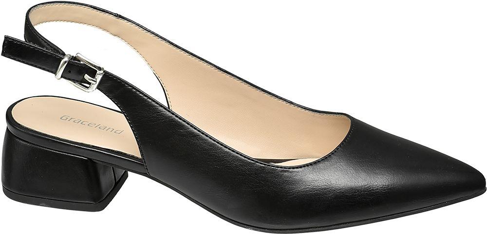 czarne czółenka damskie Graceland na niskim obcasie