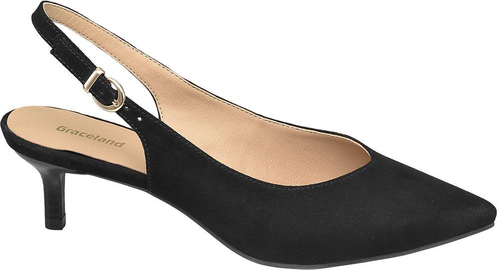 czarne czółenka damskie Graceland z odkrytą piętą