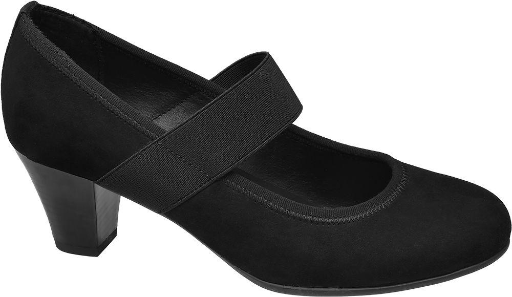 czarne czółenka damskie Graceland z szeroką gumką