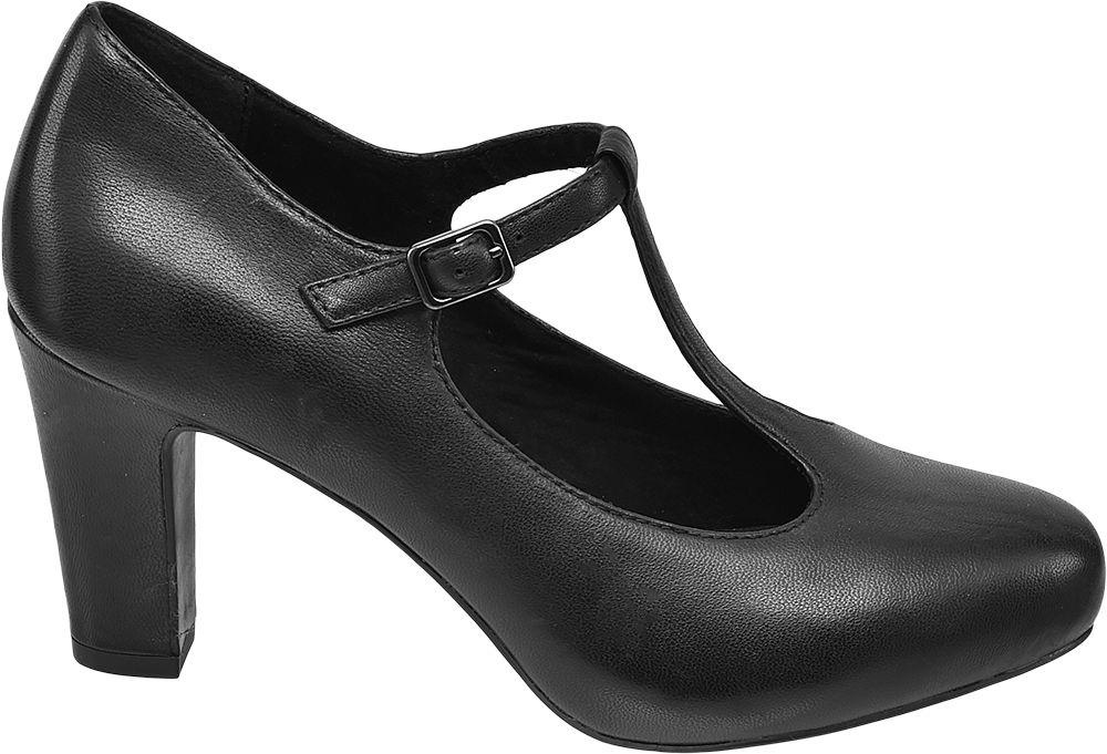 czarne czółenka damskie 5th Avenue zapinane na paseczek