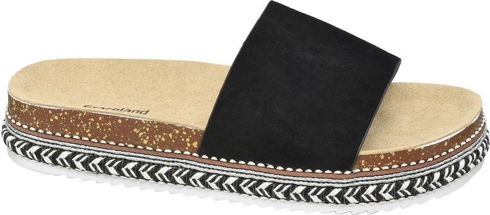 czarne klapki damskie Graceland na grubej podeszwie