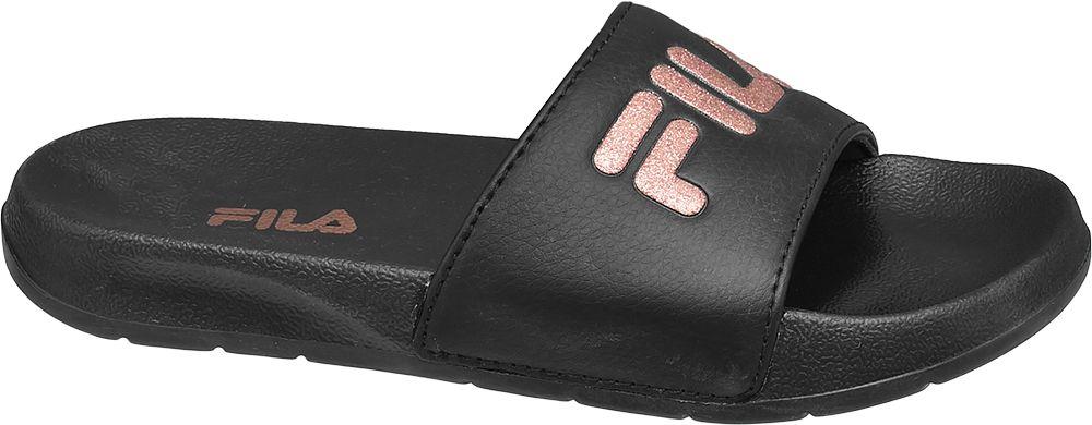 czarne klapki dziewczęce Fila z różowym logo