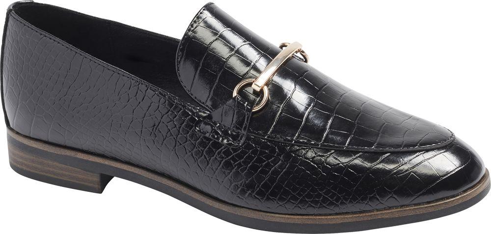 czarne lordsy damskie Graceland we wzór skóry krokodyla