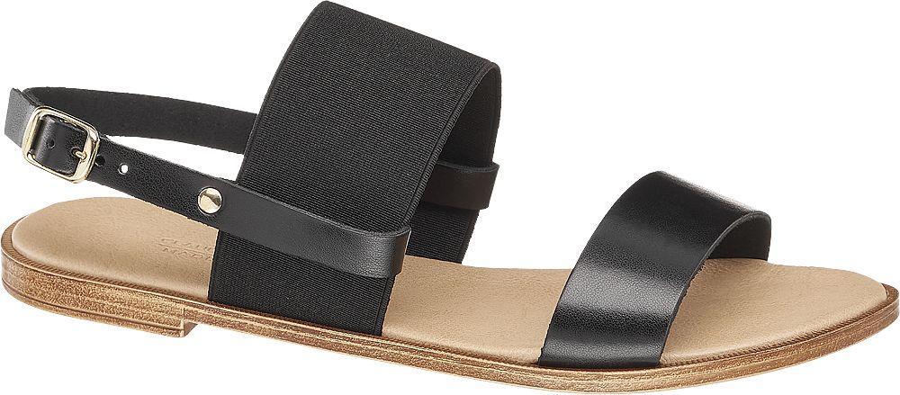 czarne płaskie sandały damskie Claudia Ghizzani
