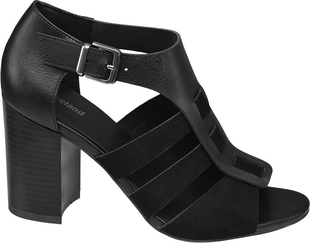 czarne sandałki Graceland na obcasie zapinane na paseczek