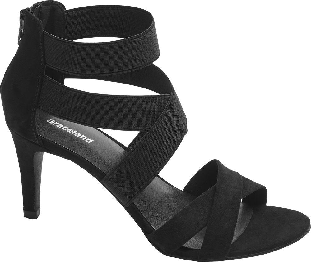 czarne sandałki damskie Graceland na obcasie