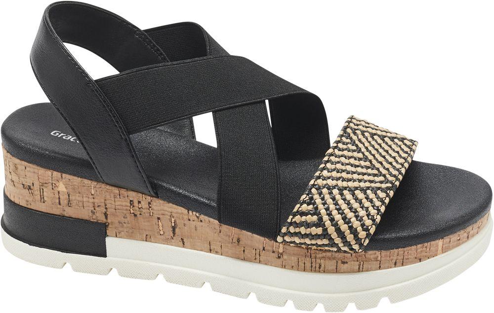czarne sandały Graceland w stylu etno na platformie
